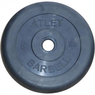 Диск обрезиненный черный Atlet Barbell d-31 5 кг