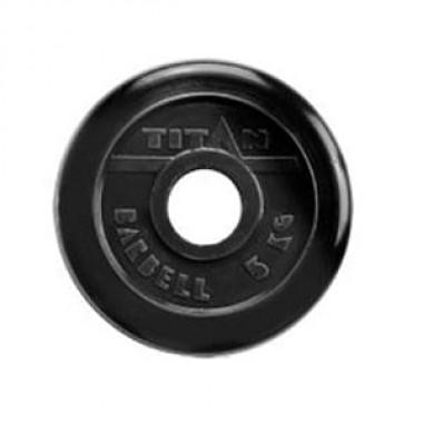 Диск обрезиненный черный Titan Barbell d-51 5 кг