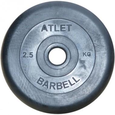 Диск обрезиненный черный Atlet Barbell d-31 2.5 кг
