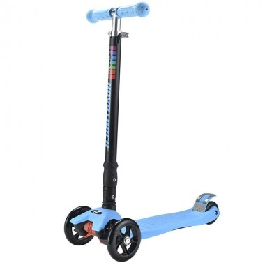 Самокат кикборд складной 3-х колесный Novatrack RainBow голубой до 70 кг