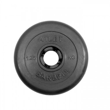 Диск обрезиненный черный MB ATLET d-31 1,25кг