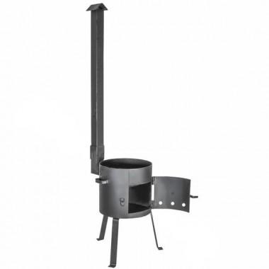 Печь для казана с дверцей  и трубой (усиленная) на 10 литров