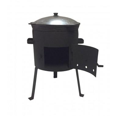 Печь для казана с дверцей усиленная на 10 литров