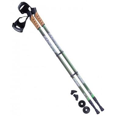 Палки для скандинавской ходьбы Berger Rainbow 77-135 см 2-секционные, чёрный/ярко-зелёный