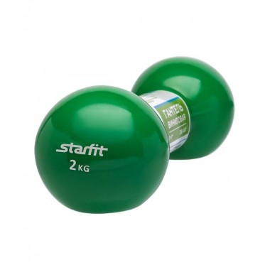 Гантель виниловая StarFit DB-102 2 кг зеленая