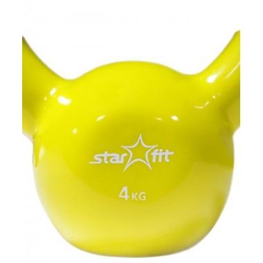 Гиря чугунная с виниловым покрытием StarFit DB-401 4 кг желтая