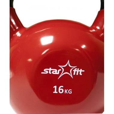 Гиря чугунная с виниловым покрытием StarFit DB-40 16 кг красная