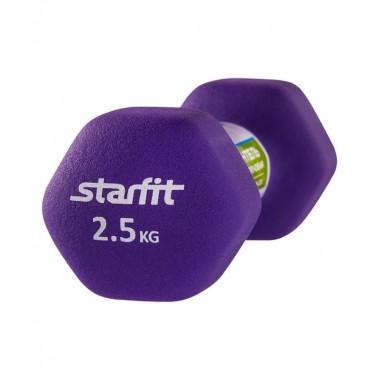 Гантель неопреновая StarFit DB-201 2,5 кг фиолетовая