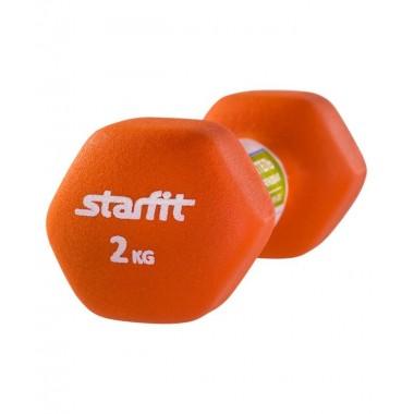 Гантель неопреновая StarFit DB-201 2 кг оранжевая
