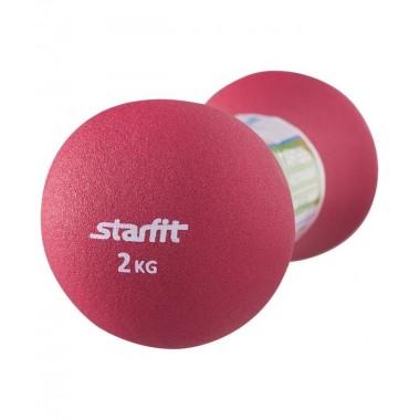 Гантель неопреновая StarFit DB-202 2 кг рубиновая