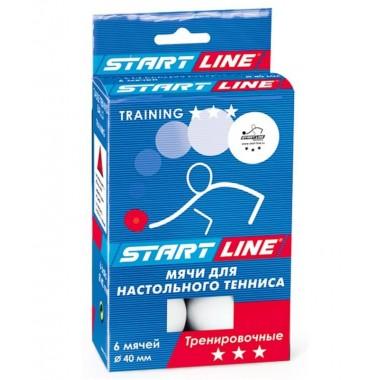 Мяч для настольного тенниса Startline 3* Training  6 шт. белый