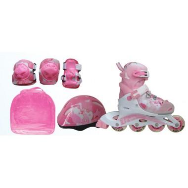 Набор Action PW-999 : коньки роликовые, защита, шлем р.34-37