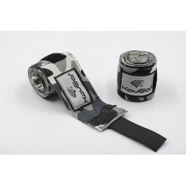 Бинт боксерский KOUGAR K600, 3,5м, эластичный хлопок, камуфляж серый