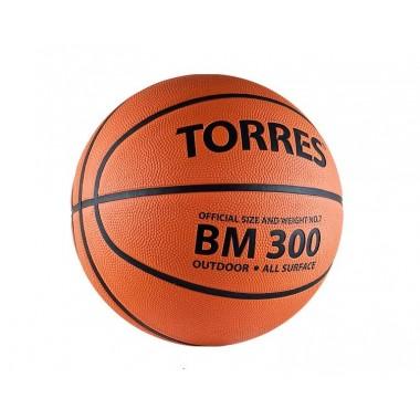 Мяч баскетбольный TORRES BM300  р.7, резина, темнооранжевый