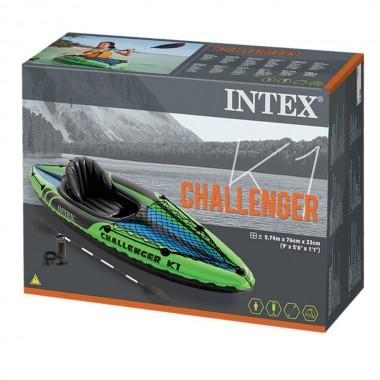 Надувная байдарка Intex 68305 Challenger K1 + весла + насос