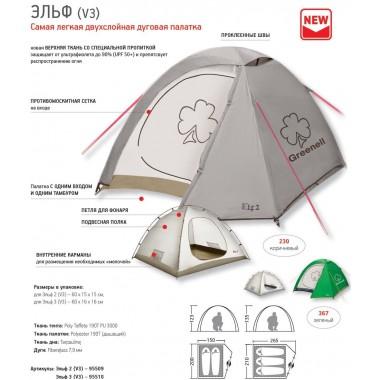 Палатка Greenell Эльф 2 V3 (коричневый)