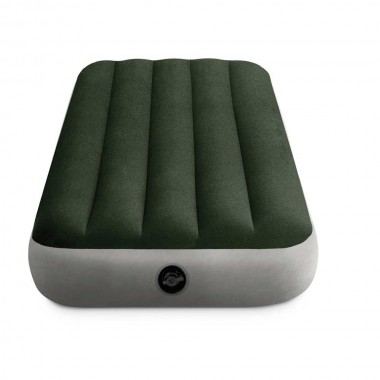 Односпальный надувной матрас Intex 64760 Downy Airbed With Fiber-Tech + насос (76х191х25см)