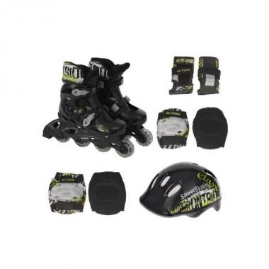 Роликовые коньки Action PW-120B + защита, шлем р.31-34