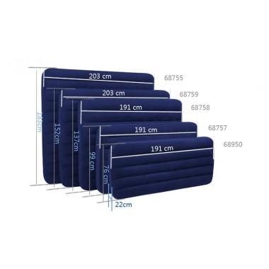 Матрас надувной флокированный INTEX 68758 (137х191х22см) синий