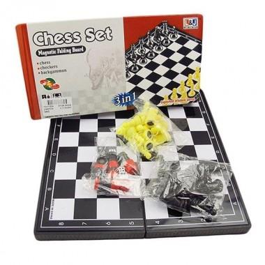 Игра 3 в 1 (шашки, шахматы, нарды магнитные) TX11224