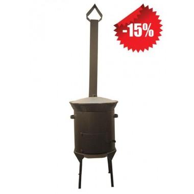 Казан чугунный 10 л + Печь с трубой (комплект)
